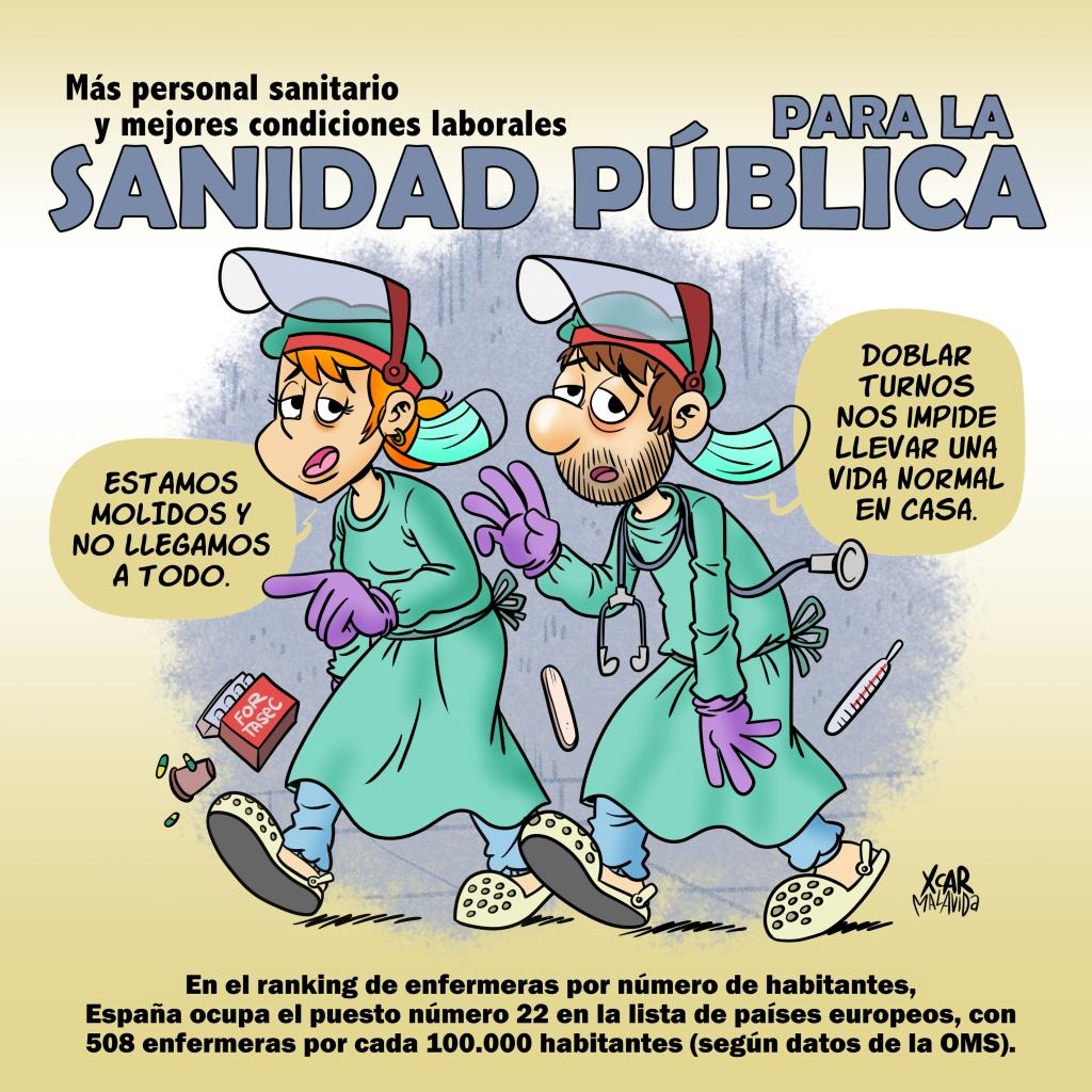 Más personal sanitario y mejores condiciones laborales para la sanidad pública. Una viñeta de XCAR Malavida.